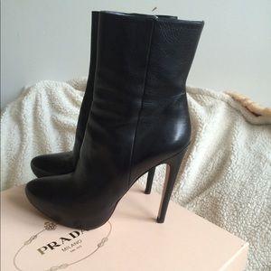 PRADA Leather Booties - 38.5